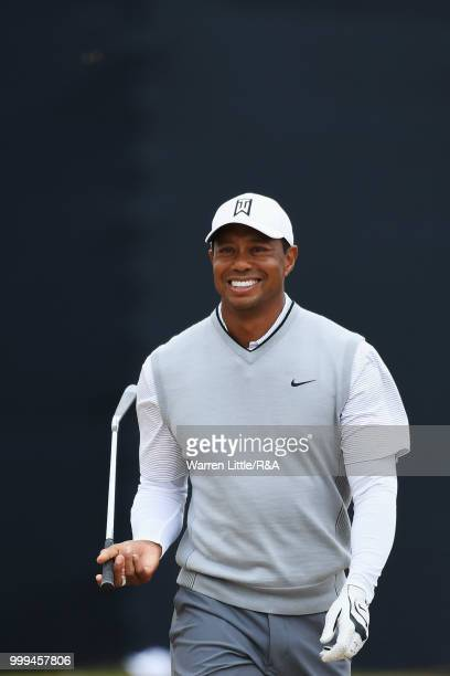 Tiger Woods of the United States seen on the 1st hole while practicing during previews to the 147th Open Championship at Carnoustie Golf Club on July...