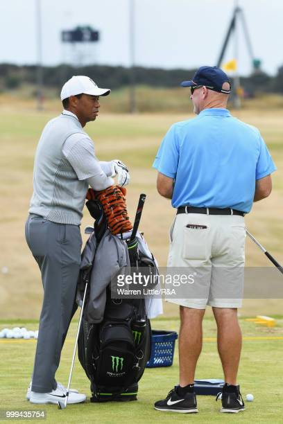 Tiger Woods of the United States seen on the driving range during previews to the 147th Open Championship at Carnoustie Golf Club on July 15 2018 in...