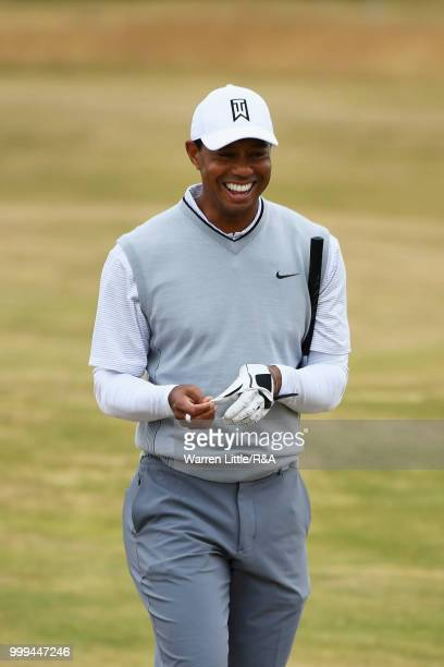 Tiger Woods of the United States seen while practicing during previews to the 147th Open Championship at Carnoustie Golf Club on July 15 2018 in...