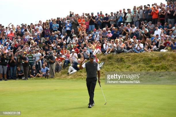 Rickie Fowler of the United States plays his second shot on the sixth hole during round three of the Open Championship at Carnoustie Golf Club on...