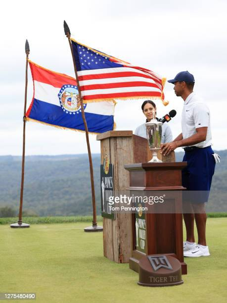 Tiger Woods of the United States speaks as Henni Zuel looks on prior to the Payne's Valley Cup on September 22 2020 at Payne's Valley course at Big...