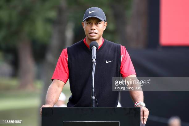 Tiger Woods of the United States speaks at the award ceremony following the final round of the Zozo Championship at Accordia Golf Narashino Country...