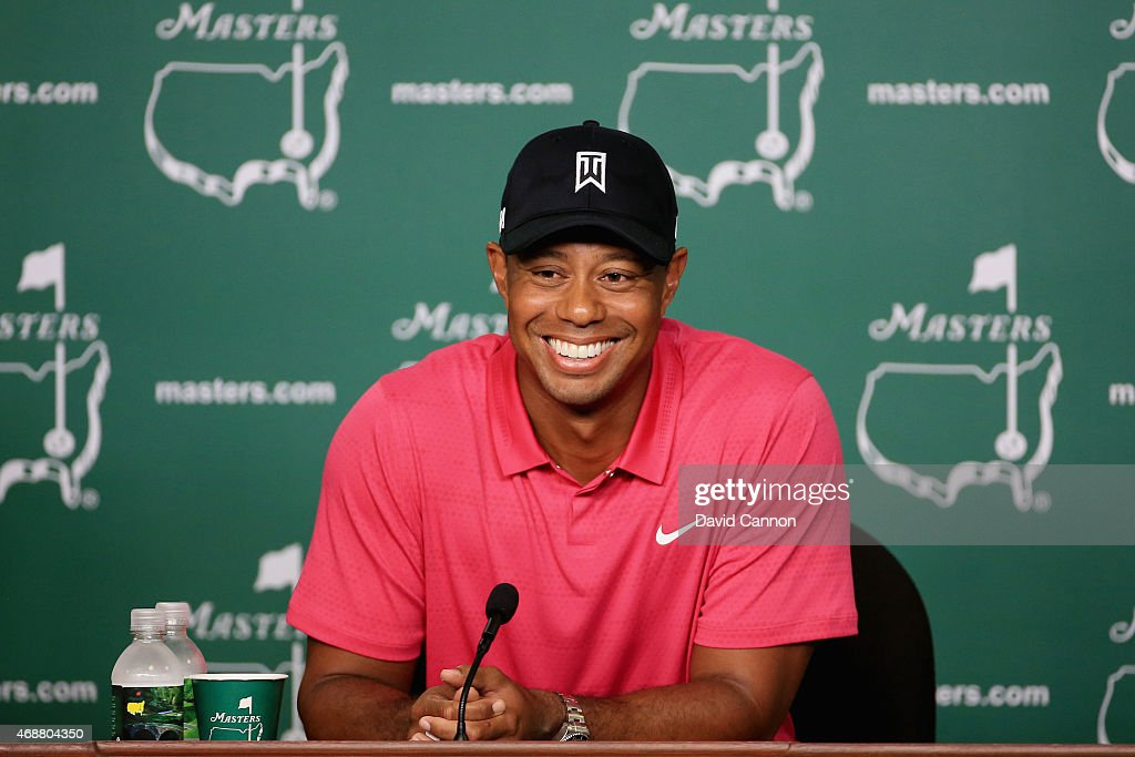 Tiger Woods of the United States speaks to the media during a practice round prior to the start of the 2015 Masters Tournament at Augusta National Golf Club on April 7, 2015 in Augusta, Georgia.
