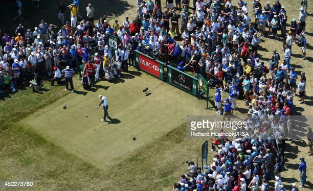Tiger Woods of the United States tees off at the 16th hole during the first round of The 143rd Open Championship at Royal Liverpool on July 17 2014...