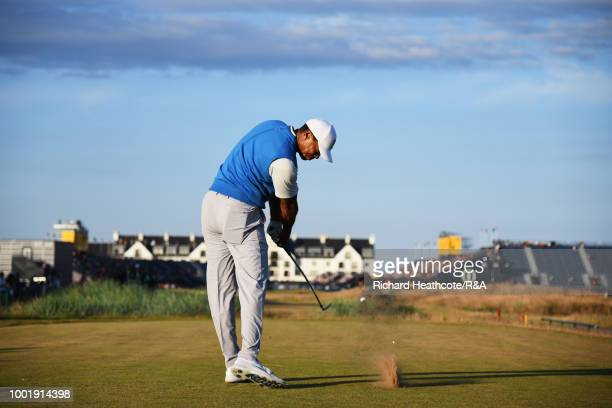 Tiger Woods of the United States tees off at the 18th hole during round one of the 147th Open Championship at Carnoustie Golf Club on July 19 2018 in...