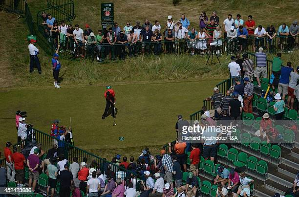 Tiger Woods of the United States tees off at the 18th hole during the final round of The 143rd Open Championship at Royal Liverpool on July 20 2014...