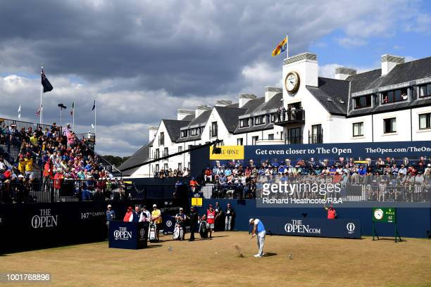 Tiger Woods of the United States tees off at the 1st hole during round one of the 147th Open Championship at Carnoustie Golf Club on July 19, 2018 in...