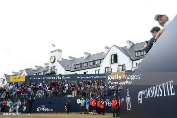 Tiger Woods of the United States tees off at the 1st tee while practicing during previews to the 147th Open Championship at Carnoustie Golf Club on...