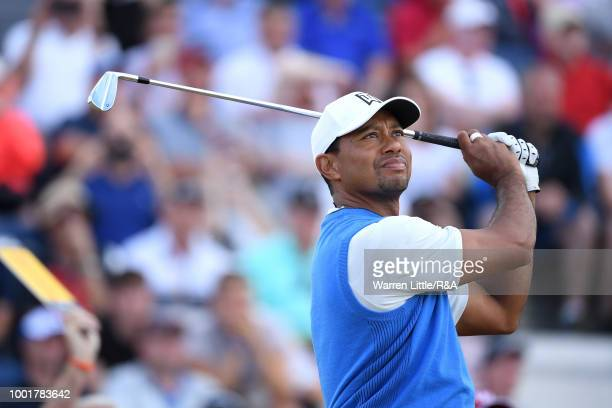 Tiger Woods of the United States tees off at the 3rd hole during round one of the 147th Open Championship at Carnoustie Golf Club on July 19 2018 in...