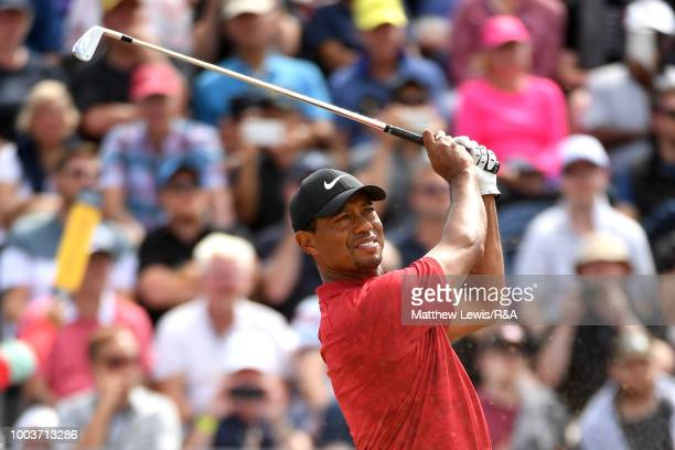 Tiger Woods of the United States tees off at the 3rd hole during the final round of the Open Championship at Carnoustie Golf Club on July 22 2018 in...