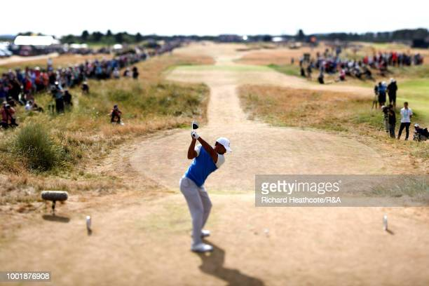 Tiger Woods of the United States tees off at the 6th hole during round one of the 147th Open Championship at Carnoustie Golf Club on July 19 2018 in...
