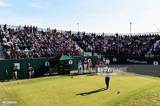 Tiger Woods of the United States tees off at the first hole during the first round of The 143rd Open Championship at Royal Liverpool on July 17 2014...