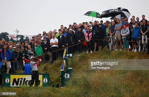 Tiger Woods of the United States tees off on the 14th hole during the third round of The 143rd Open Championship at Royal Liverpool on July 19 2014...
