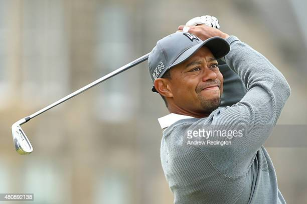 Tiger Woods of the United States tees off on the 2nd hole during the first round of the 144th Open Championship at The Old Course on July 16 2015 in...