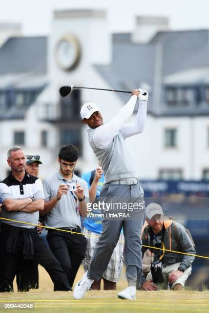 Tiger Woods of the United States tees off on the 2nd hole while practicing during previews to the 147th Open Championship at Carnoustie Golf Club on...