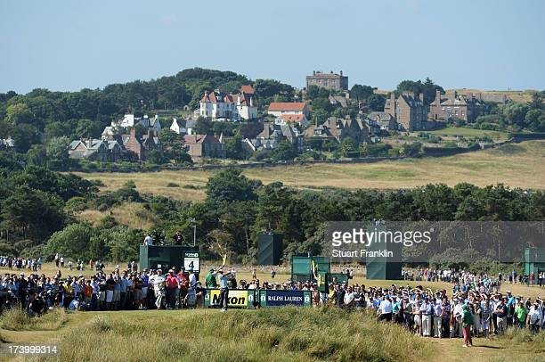 Tiger Woods of the United States tees off on the 4th hole during the second round of the 142nd Open Championship at Muirfield on July 19 2013 in...