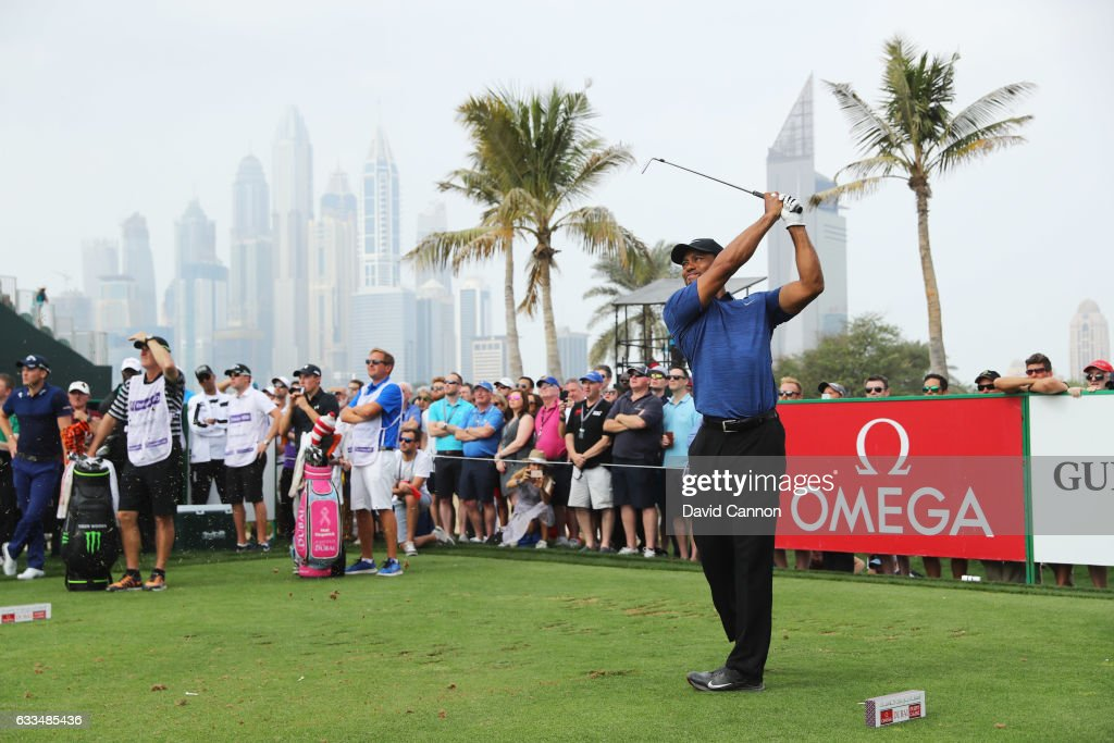 Tiger Woods of the United States tees off on the 4th hole during the first round of the Omega Dubai Desert Classic at Emirates Golf Club on February 2, 2017 in Dubai, United Arab Emirates.