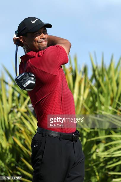 Tiger Woods of the United States tees off on the fourth tee during the final round of the Hero World Challenge at Albany Bahamas on December 02 2018...