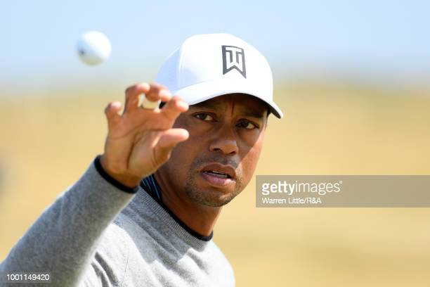 18th July 2018 Carnoustie Golf Links Angus Scotland The 147th Open Golf Championship practice day Lee Westwood plays his approach shot to the 18th...