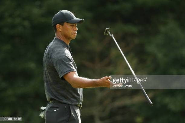 Tiger Woods of the United States tosses his putter on the 11th green during the first round of the Dell Technologies Championship at TPC Boston on...