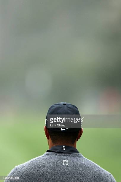 Tiger Woods of the United States waits on a tee box during a practice round prior to the start of the 112th US Open at The Olympic Club on June 13...