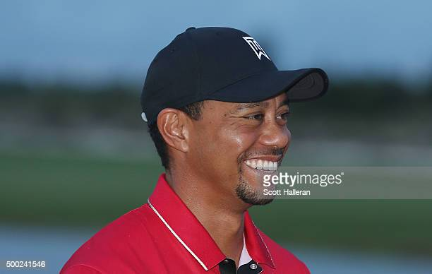Tiger Woods of the United States waits on the 18th green after the final round of the Hero World Challenge at Albany The Bahamas on December 6 2015...