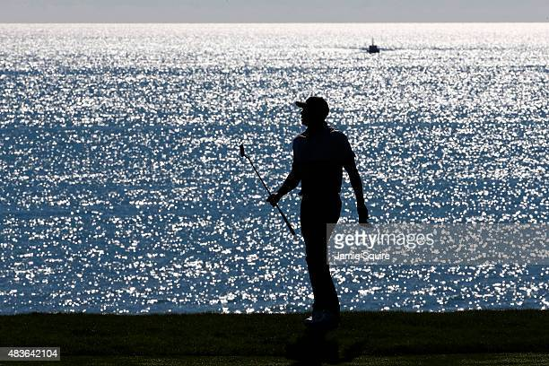 Tiger Woods of the United States walks across a green during a practice round prior to the 2015 PGA Championship at Whistling Straits on August 11...