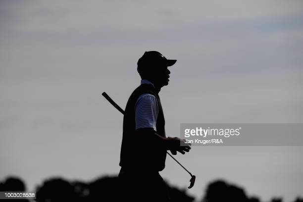 Tiger Woods of the United States walks down the 6th hole fairway during round three of the Open Championship at Carnoustie Golf Club on July 21 2018...