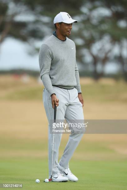 Tiger Woods of the United States walks during previews to the 147th Open Championship at Carnoustie Golf Club on July 18 2018 in Carnoustie Scotland
