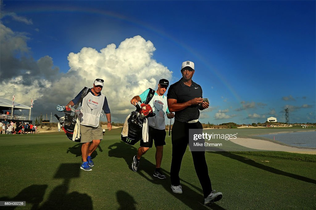 Tiger Woods of the United States walks off of the 18th green during the first round of the Hero World Challenge at Albany, Bahamas on November 30, 2017 in Nassau, Bahamas.