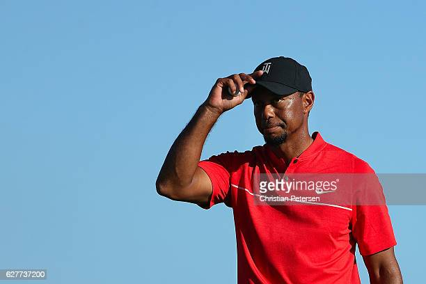 Tiger Woods of the United States walks off the 18th green following the final round of the Hero World Challenge at Albany The Bahamas on December 4...