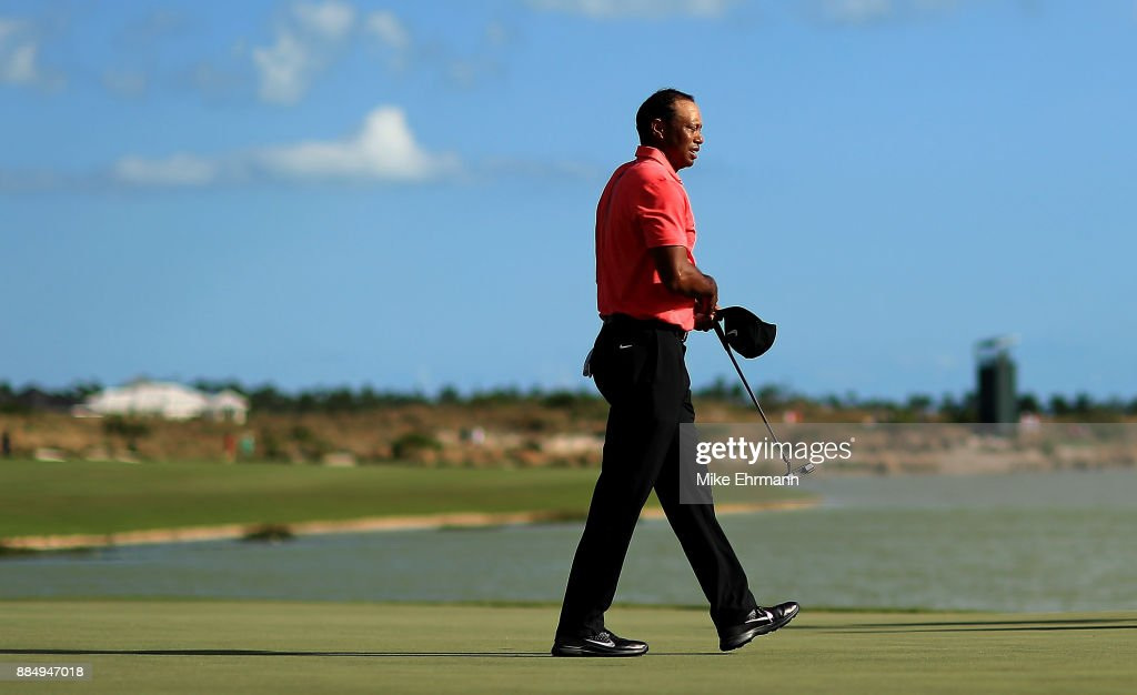 Tiger Woods of the United States walks off the 18th hole during the final round of the Hero World Challenge at Albany, Bahamas on December 3, 2017 in Nassau, Bahamas.