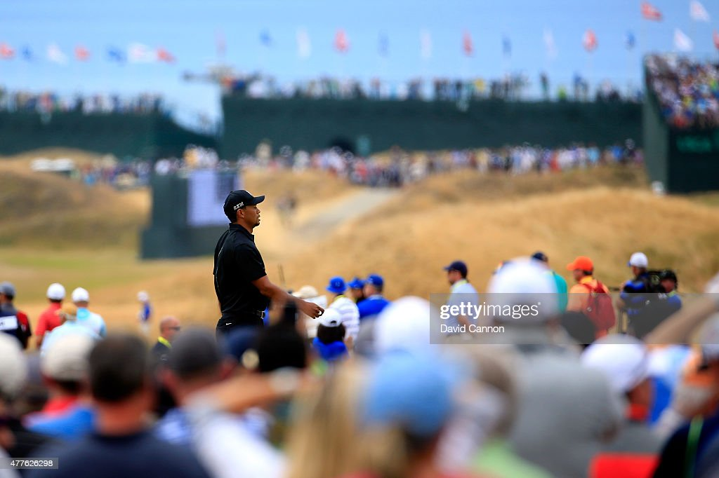 Tiger Woods of the United States walks off the first tee during the first round of the 115th U.S. Open Championship at Chambers Bay on June 18, 2015 in University Place, Washington.