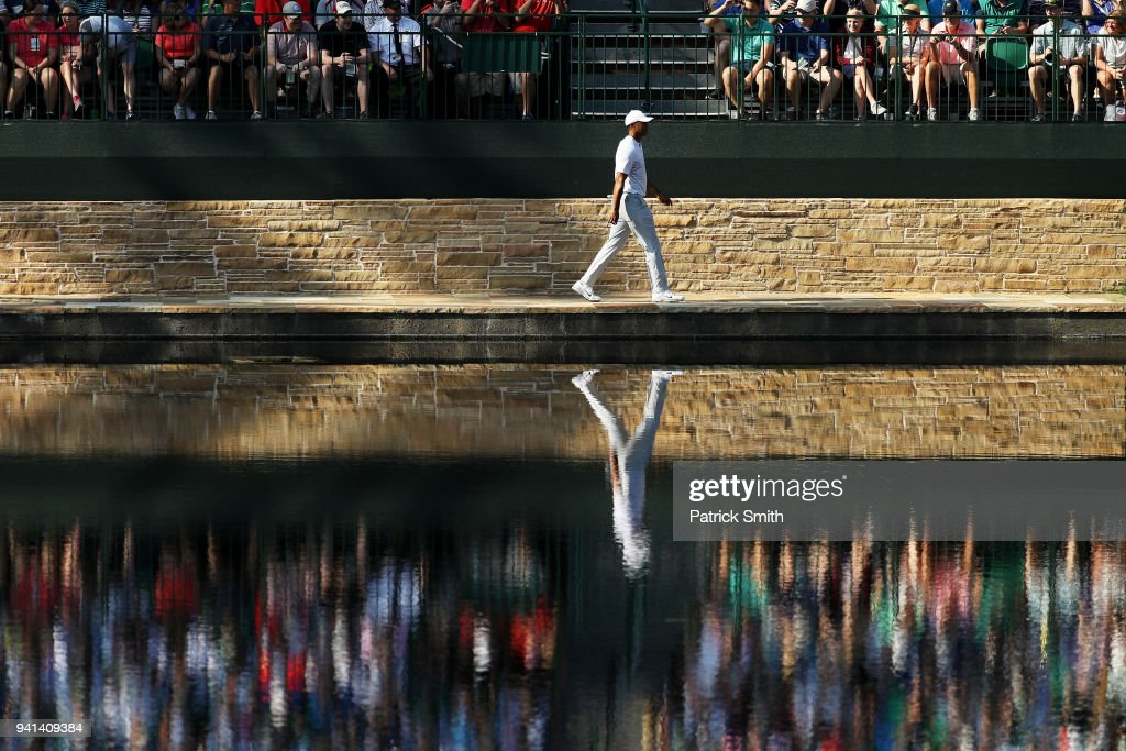 Tiger Woods of the United States walks on the 16th hole during a practice round prior to the start of the 2018 Masters Tournament at Augusta National Golf Club on April 3, 2018 in Augusta, Georgia.