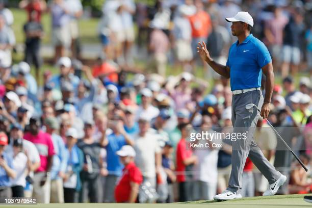 Tiger Woods of the United States walks on the eighth hole during the third round of the TOUR Championship at East Lake Golf Club on September 22 2018...