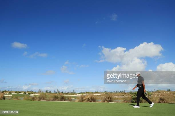 Tiger Woods of the United States walks on the ninth hole during the first round of the Hero World Challenge at Albany, Bahamas on November 30, 2017...