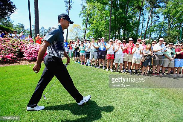 Tiger Woods of the United States walks on the sixth hole during the third round of the 2015 Masters Tournament at Augusta National Golf Club on April...