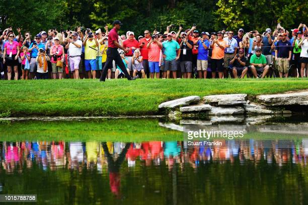 Tiger Woods of the United States walks on the third hole during the final round of the 2018 PGA Championship at Bellerive Country Club on August 12...
