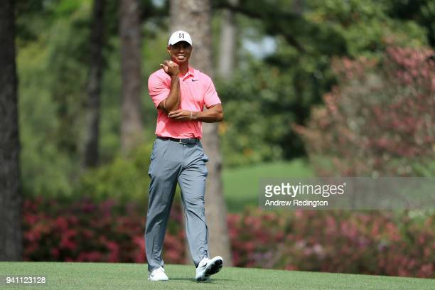 Tiger Woods of the United States walks the second hole during a practice round prior to the start of the 2018 Masters Tournament at Augusta National...
