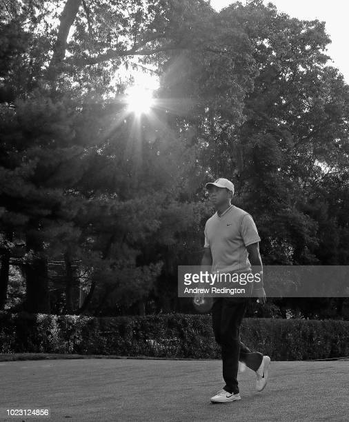 Tiger Woods of the United States walks to the first tee during the third round of The Northern Trust on August 25 2018 in Ridgewood New Jersey