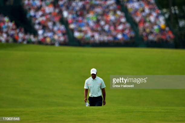 Tiger Woods of the United States walks up the 18th fairway during Round Three of the 113th U.S. Open at Merion Golf Club on June 15, 2013 in Ardmore,...