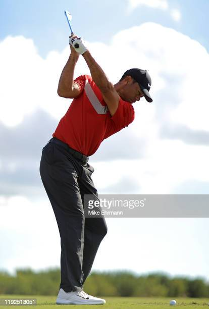 Tiger Woods of the United States warms up during the final round of the Hero World Challenge at Albany on December 07, 2019 in Nassau, Bahamas.