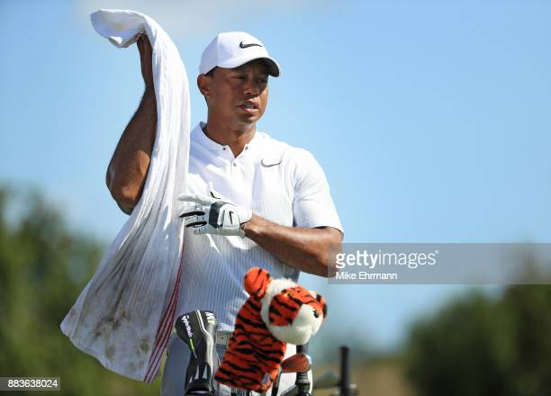 Tiger Woods of the United States warms up on the range prior to the second round of the Hero World Challenge at Albany Bahamas on December 1 2017 in...