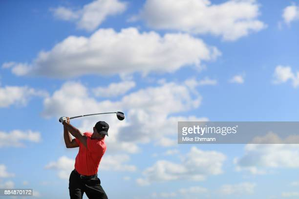 Tiger Woods of the United States warms up on the range prior to the final round of the Hero World Challenge at Albany Bahamas on December 3 2017 in...