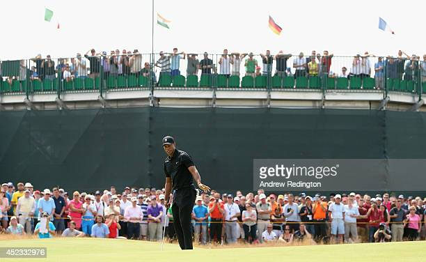 Tiger Woods of the United States watches a putt on the second green during the second round of The 143rd Open Championship at Royal Liverpool on July...