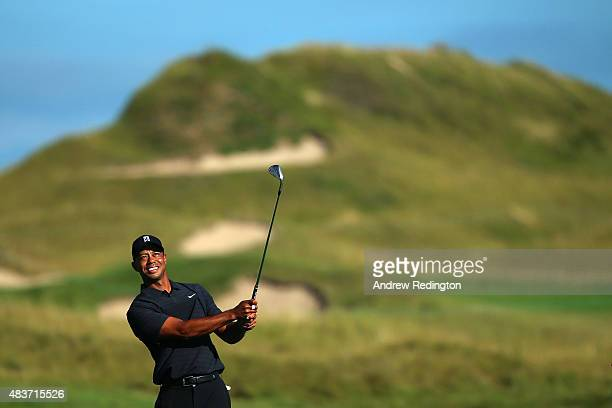 Tiger Woods of the United States watches a shot during a practice round prior to the 2015 PGA Championship at Whistling Straits on August 12 2015 in...