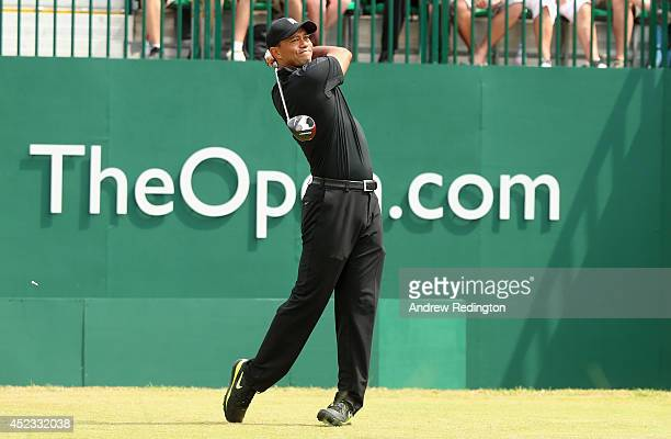 Tiger Woods of the United States watches his tee shot on the first hole during the second round of The 143rd Open Championship at Royal Liverpool on...