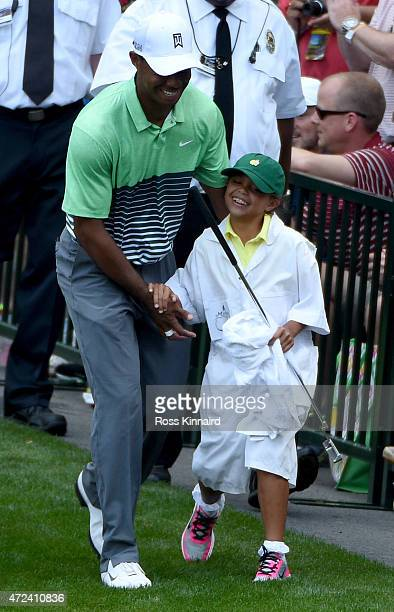 Tiger Woods of the United States with his daughter Sam during the par 3 contest prior to the start of the 2015 Masters Tournament at Augusta National...