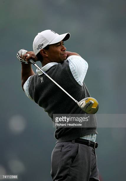 Tiger Woods of the US hits a tee shot during a practice round for The Players Championship on the Stadium Course at the TPC Sawgrass May 9 2007 in...