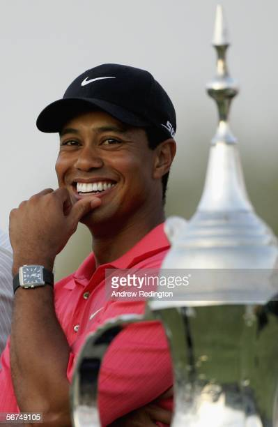 Tiger Woods of the US smiles after winning the Dubai Desert Classic February 5 2006 on the Majilis Course at Emirates Golf Club in Dubai United Arab...